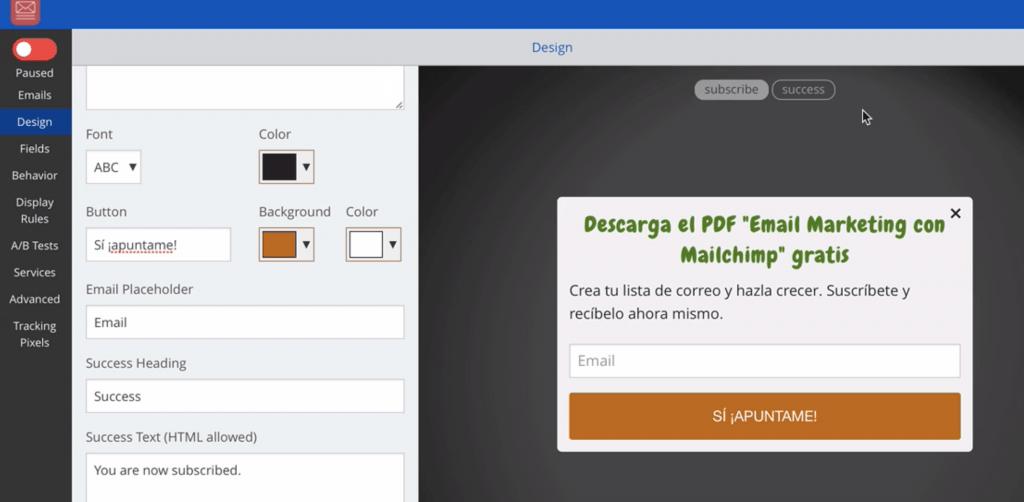 SumoMe Diseño del formulario