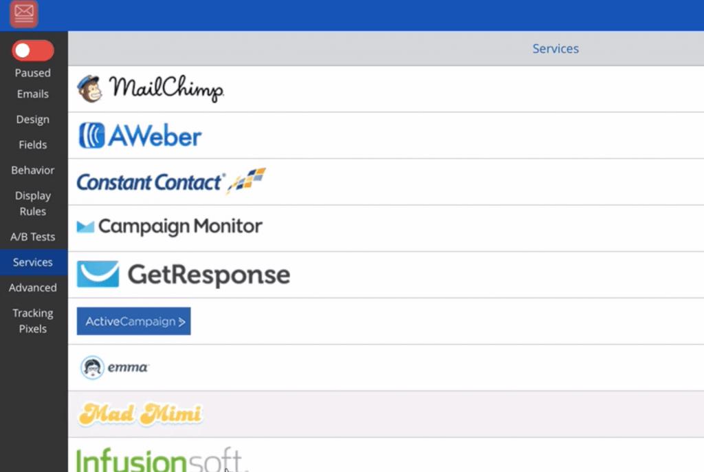 SumoMe conexión a la lista de correo