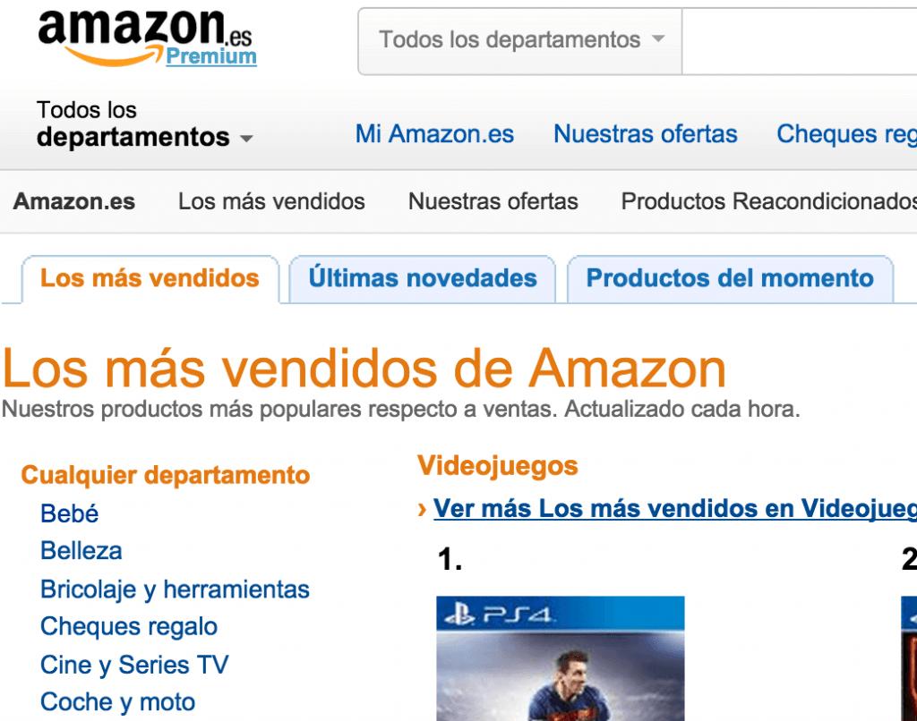Amazon productos más vendidos