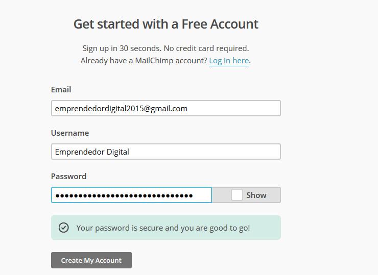 MailChimp crear cuenta gratuita