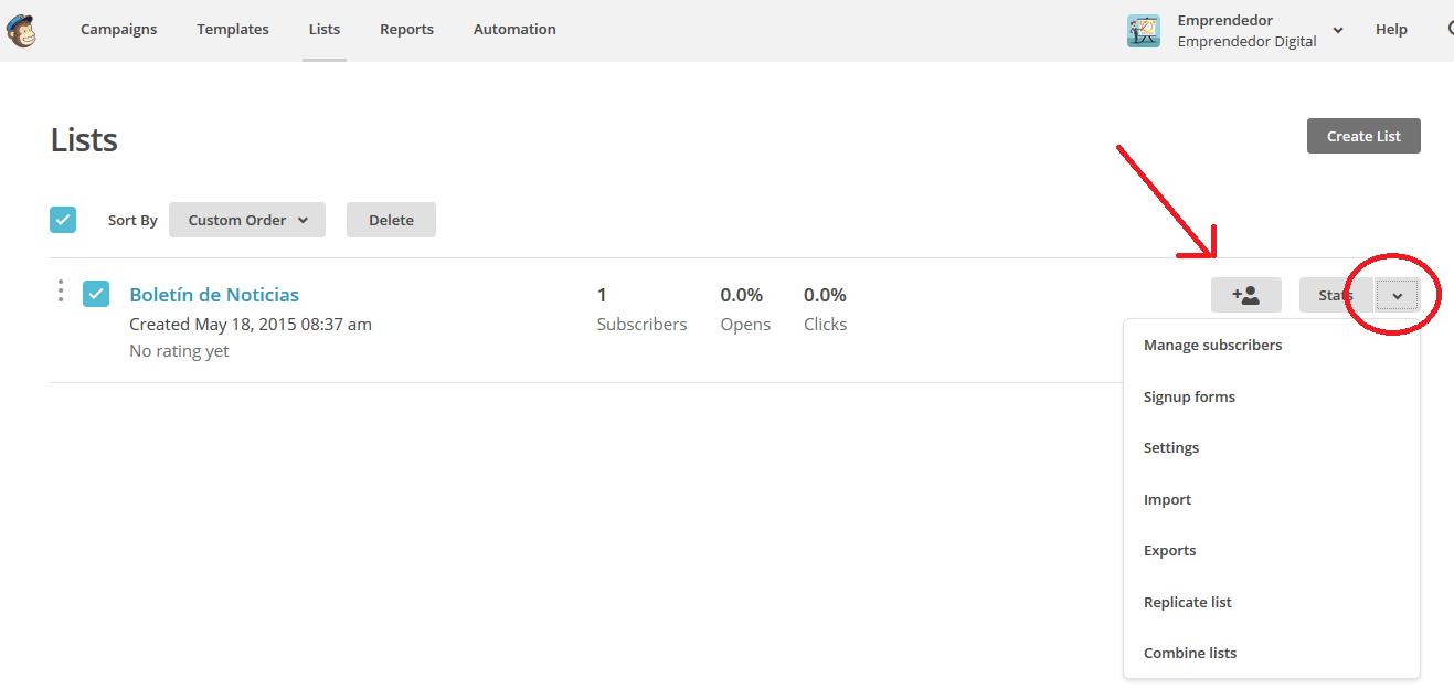 Lista de suscriptores con MailChimp