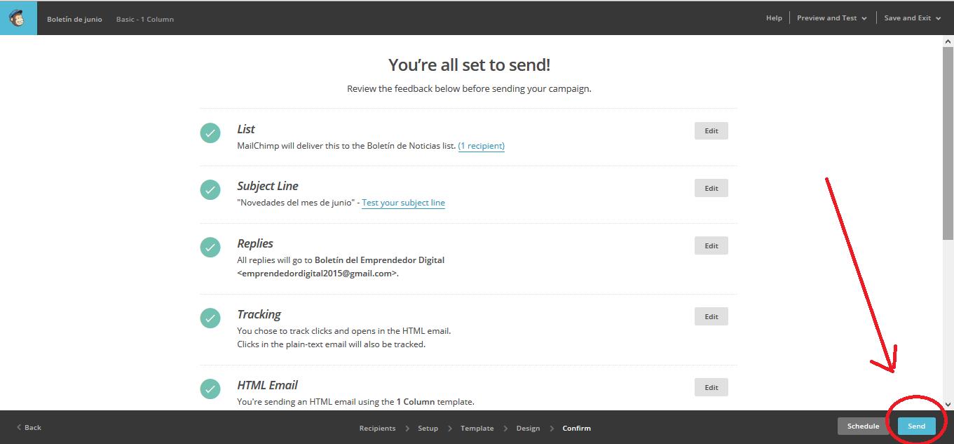 Enviar la newsletter con MailChimp