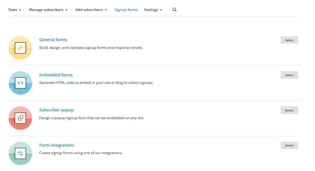 tipo de formulario de suscripción con MailChimp