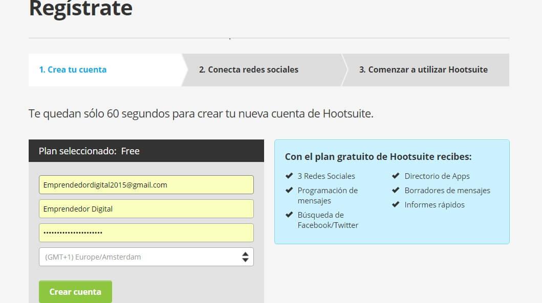 Crear cuenta Hootsuite