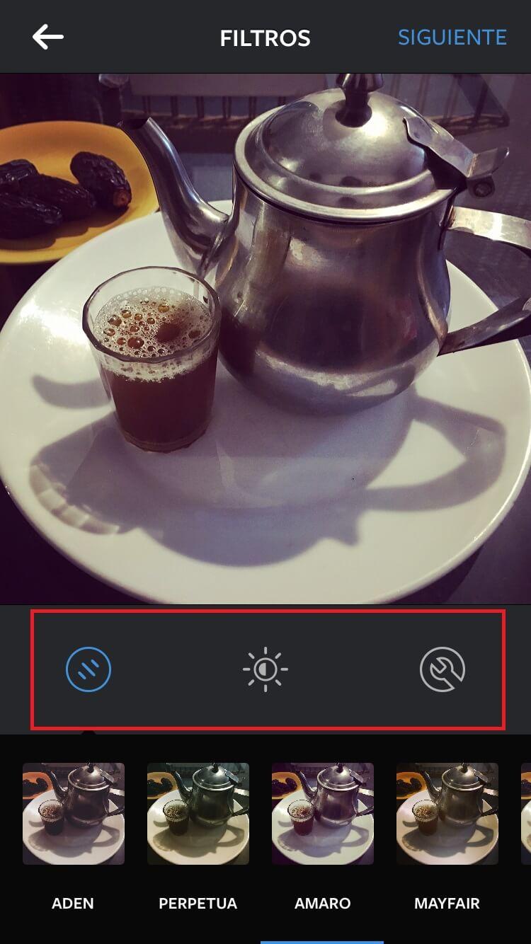 Menú filtros