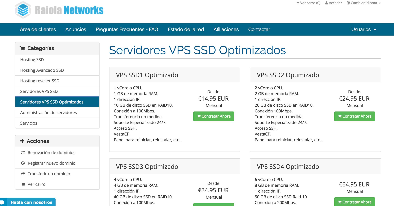 Hosting VPS optimizado Raiola Networks