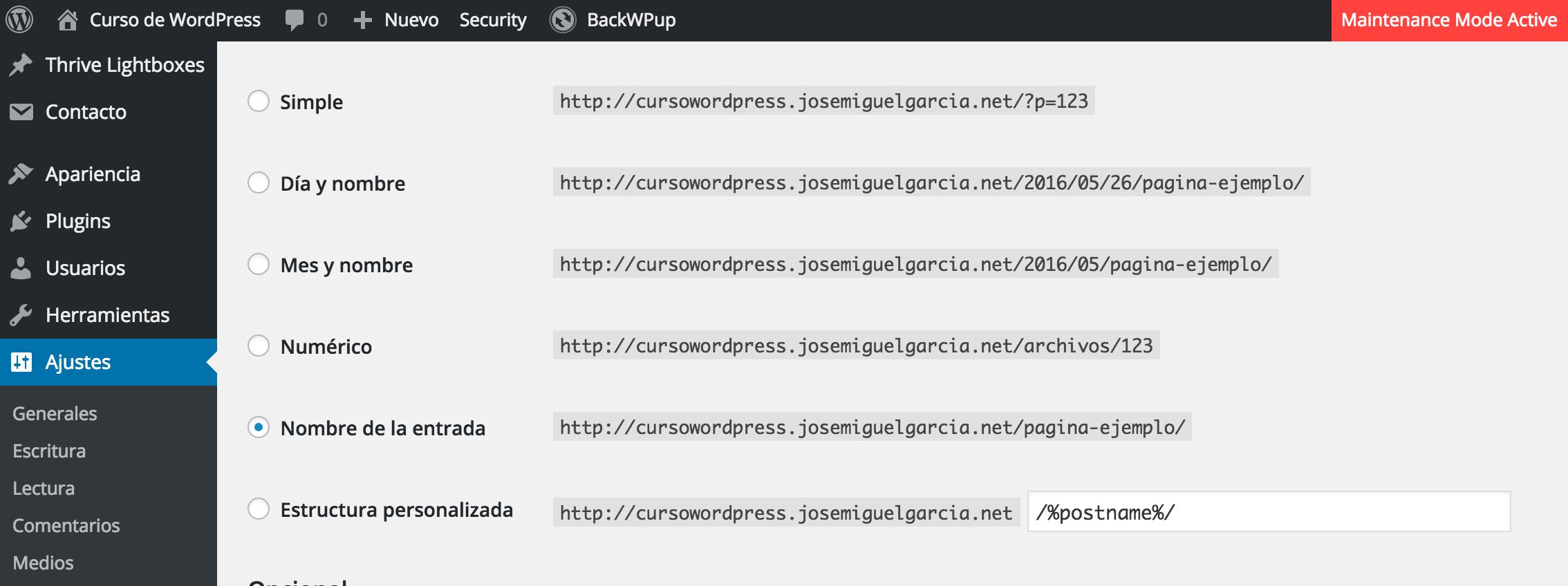 Configuración de los enlaces permatentes del blog en WordPress