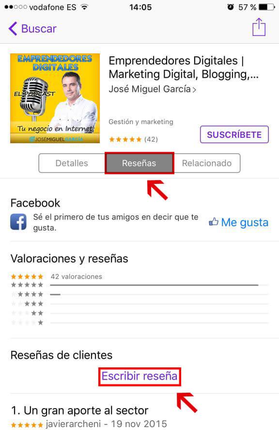 Hacer una reseña en iTunes para iPhone
