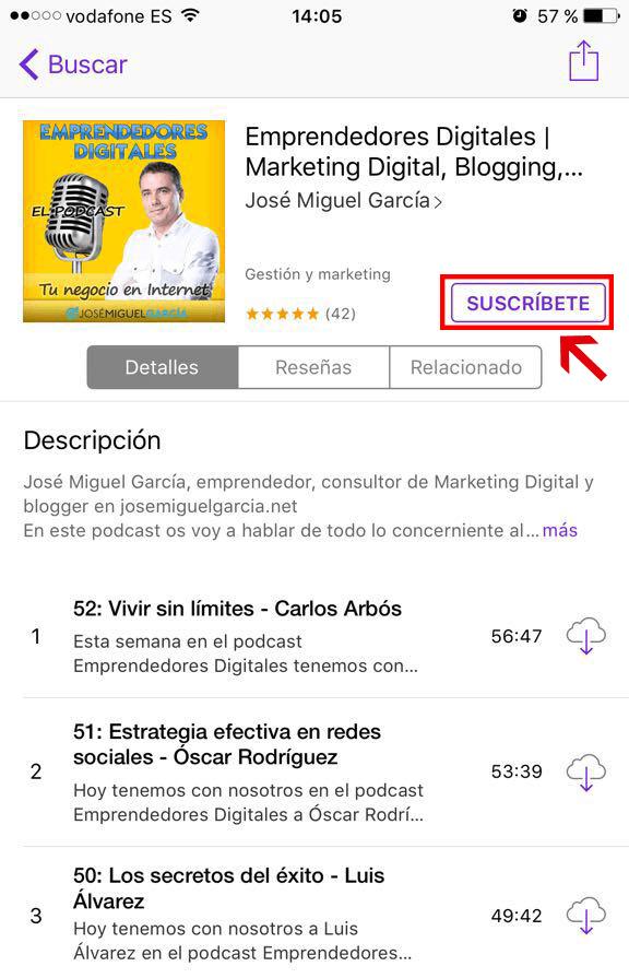 Suscribirse a iTunes en iPhone