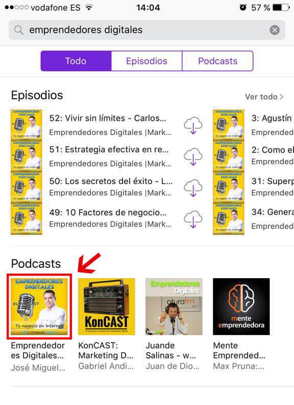 Localizar podcast para hacer reseña con un iPhone
