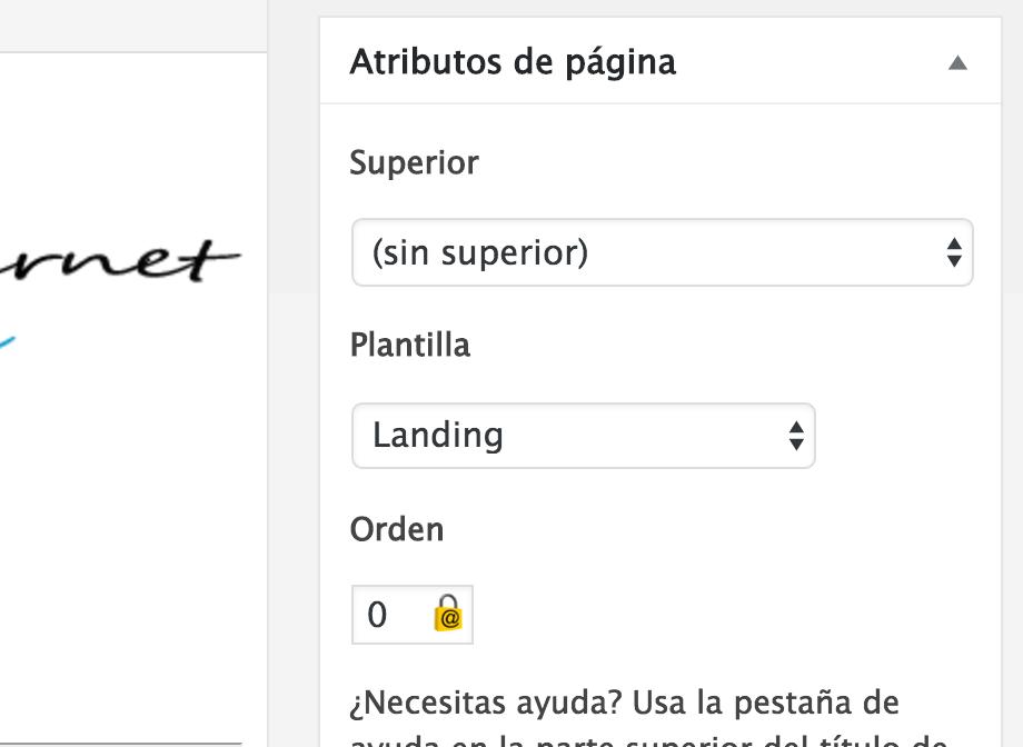 Plantilla de landing page en WordPress